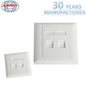 China Customized Wall Mount Socket 86 Type Double Port Face Plate In White Color on sale