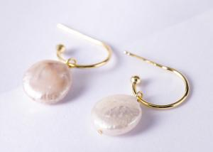 China S925 Silver Baroque Natural Pearl Earrings Women Simple Design Gold-plated Craft Earrings on sale