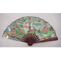China 26.5cm promotional hand fan with bamboo ribs and double-side printed fabric on sale