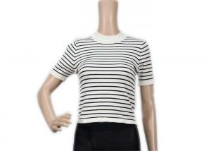 China Computer Womens Knit Sweater Black And White Striped Cool T - Shirt Short Sleeve on sale