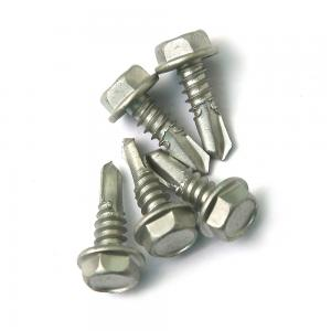 China 1500 Hrs' Salt Spray Test SS 410 Hex Self Drilling Screws Into Steel Environmental Protection Coating on sale