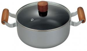 China Eco Friendly Stamped Nonstick Sauce Pot With Wooden Handle on sale