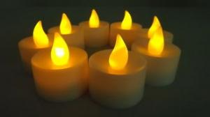 China Battery operated yellow flickering LED candles , colored tealight candles on sale