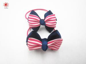 China Ribbon Stripe Bowknot Elastic Hair Scrunchies Ponytail Holder Eco Friendly on sale