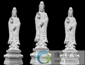 China Stone carving Kuanyin Buddha carved white marble dripping Guanyin religious Avalokitesvara statue sculpture on sale