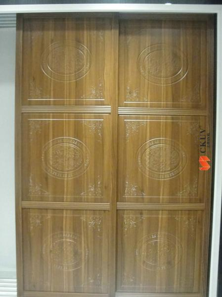 Wood Grain MDF PVC Uptake Wardrobe Plastic Sliding Door 850mm *18mm Images