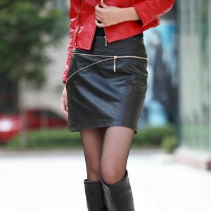 China Black Leather Mini Womens Summer Skirts High-Waist And Slim Fit on sale