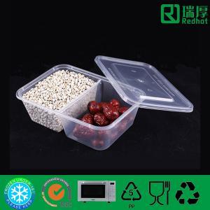 China El envase de comida plástico de dos compartimientos/dividió la fiambrera clara 650ml on sale