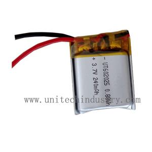 China Small size  custom lithium ion battery 602025 3.7V 240mAh  Li-polymer battery pack on sale