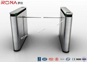 China Shopping Mall Drop Arm Turnstile Gate 304 Stainless Steel 2 RFID Readers Windows on sale