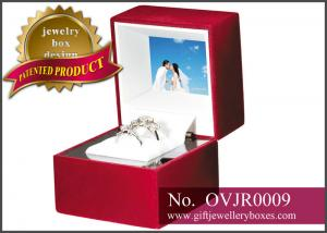 China OEM / ODM designer red rose Gift Jewellery Boxes, video double ring box and Plastic ring presentation box on sale