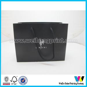 China Black Recycle Matt Coated Paper Shoping Bags , Art Card Paper Carrier Bag on sale