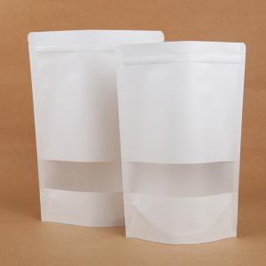 China White Kraft Paper Zipper Poly Packing Bags for Food with Clear Window on sale
