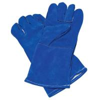 Blue Cow hide leather glove with CE certification from factory