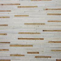 China White Yellow Fine Strip Quartzite Stone Veneer for Hotel / Retail Shops Decor on sale