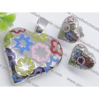 Attractive Colorized Murano Glass Jewelry Set Heart Shaped Costume Necklace and Ear2900086