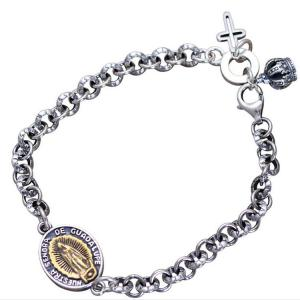 China Women Men Sterling Silver Tag Cross Crown Charm Link Bracelet(058417) on sale