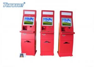 China Waterproof Red Self Service Bill Payment Kiosk Credit Card Cash Acceptable 17Inch 19Inch on sale