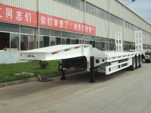 China 70 60T 50T 100T  ton low bed Semi-trailer with 3-axle excavator trailer. low loader 2-hand machines on sale