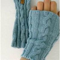 China Skin care Mitten Long Sleeve braided knit arm Winter warmer fur fingerless gloves on sale