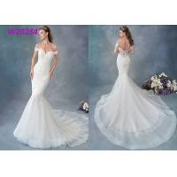China Embroidered Lace / Tulle / English Net Mermaid Style Wedding Dress Detachable Cap Sleeve on sale