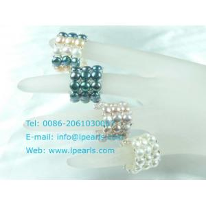 China wholesale multi-color triple row freshwater pearl stretch ring on sale