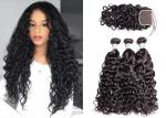 Black 3 Hair Bundles With Closure , Woman Brazilian Virgin Hair Water Wave
