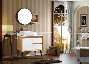 China Luxury Mitre Joint Blum Hardware Solid Wood Vanity Units For Bathrooms on sale