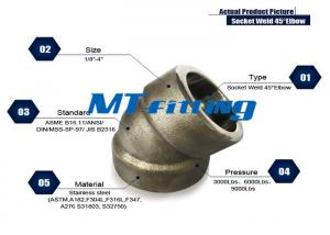 China ASME B16.11 F316H / 316L Forged High Pressure Pipe Fittings / Stainless Steel Elbow on sale