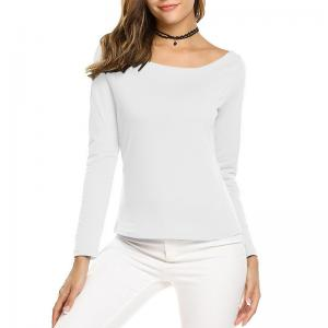 China Solid Slash Neck Women's Long Sleeve T Shirts 95% Cotton / 5% Spandex Materials on sale