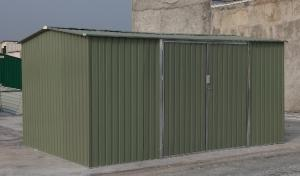 China Custom Outdoor Apex Metal Garden Shed / Carport , Nature Galvanised Steel Tool Storage 10x12 ft on sale