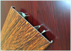 China Flat Open Wood Finish Aluminium Profiles 6005 / 6063 Strong Robustness For Window on sale