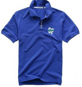 China Navy / White Stretch Solid POLO T Shirts For Men Polyester Cotton Fabric on sale