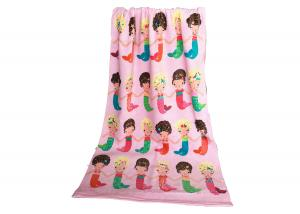 China Solid Color Monogrammed Beach Towels Printed Making Fun With Pink Mermaid on sale