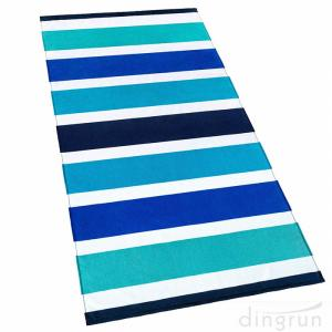 China 100% Cotton Soft Terry Velour Printed Stripes Beach and Pool Towel on sale