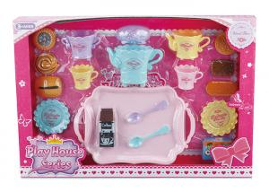 China 23 Pcs Plastic Cookies Tea Set Fun Toys For Kids W / Big Plate Spoons Cups on sale