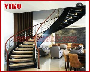 China Wrought Iron Staircase VK98S  Wrought Iron Handrail Tread slate,Railing tempered glass, Handrail b eech Stringer,carbon on sale