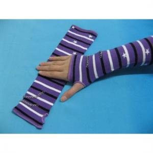 China Comfortable Cotton / Polyamide / Spandex Purple + White + Black Striped Ladies Arm Warmer Knit on sale