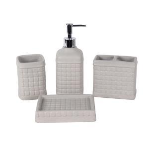 China Light Gray Exquisite Concrete Bathroom Accessories Check Pattern 4 - Piece Suit on sale