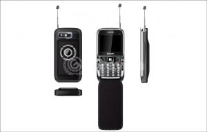 China Black 2.2 Inch Dual Sim TV Phone , Four frequency with Leather case on sale