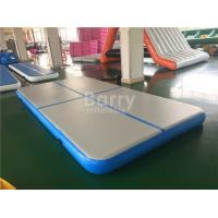 Blue Inflatable Air Track Gymnastics Mat , Double Wall Fabric Air Trak Mat For Gym