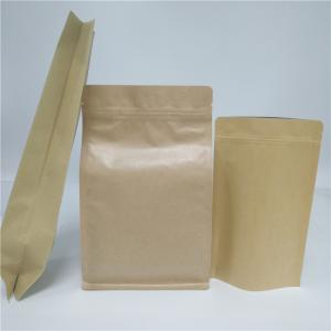 China Aluminum Foil Side Gusset Recycled Kraft Paper Coffee Bag Doypack Flat Bottom Pouch on sale