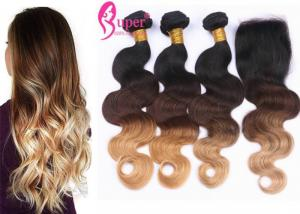 China 1B #4 #27 3 Tone Blonde Ombre Hair Extensions  /  Ombre Brazilian Hair Weave on sale