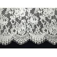 Unique White Floral Chantilly Eyelash Embroidery Lace Trim For Black Maxi Dress With Soft Hand Feeling