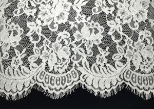 China Unique White Floral Chantilly Eyelash Embroidery Lace Trim For Black Maxi Dress With Soft Hand Feeling on sale