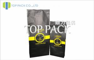 China Quad Seal Coffee Packaging Bags With Valve , Matt Film Tin Tie Coffee Bags on sale