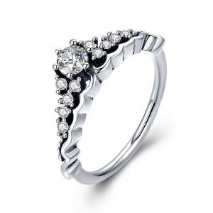 China Fairytale  Ladies Sterling Silver Rings With A Tiara And Cubic Zirconia Set on sale
