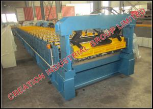 China Trapezoidal Profile Iron Roof Panel Roll Forming Machine With Manual Pre-cutter on sale