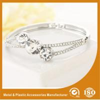Three Stones Shape Solid Silver Costume Jewellery Bangles Imitation Diamond