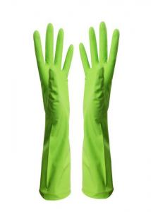 China Flexible Oil Resistant Latex Cleaning Gloves Durable Dish Washing Green Color on sale